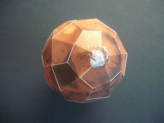 Mars-Modell aus Bastelbogen von der Volkssternwarte Recklinghausen